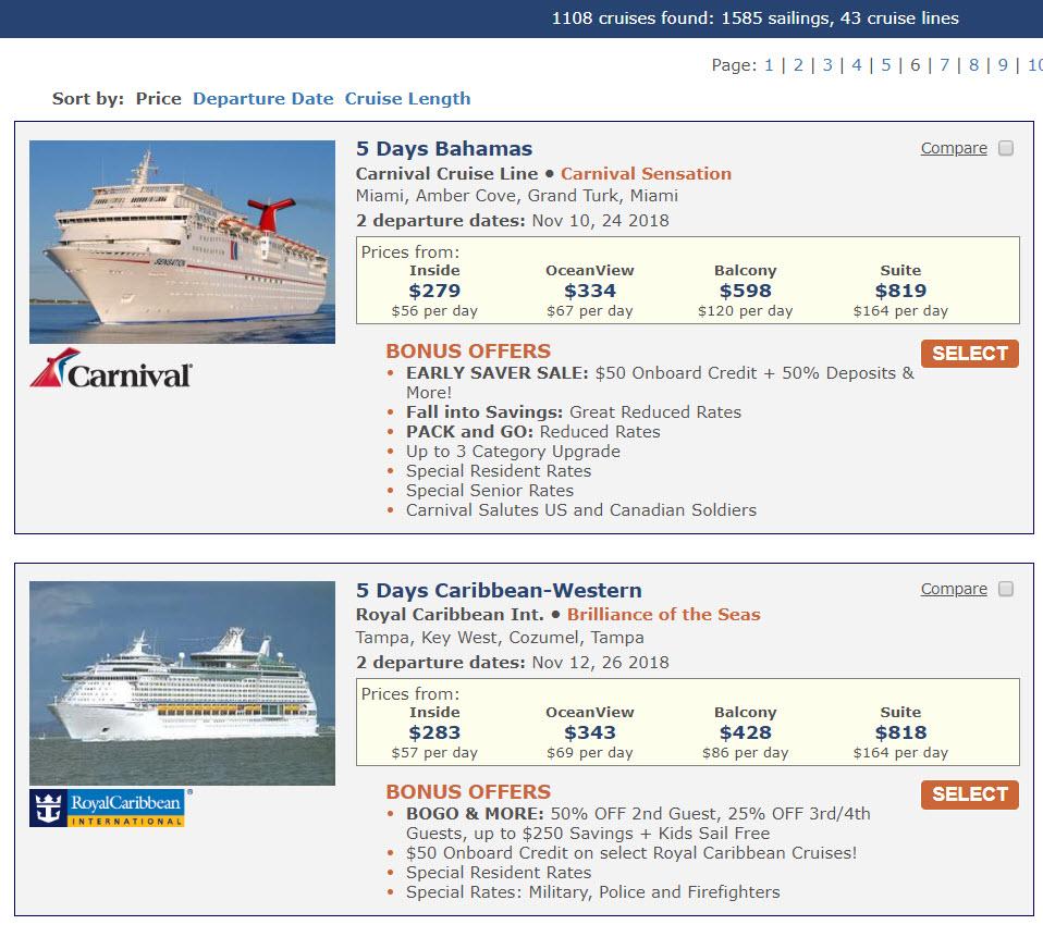 cruise savings