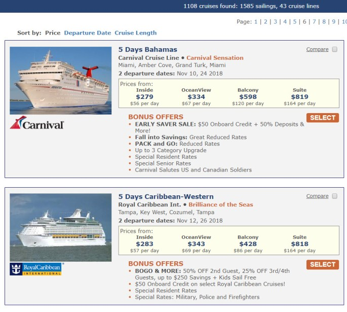 cruise savings